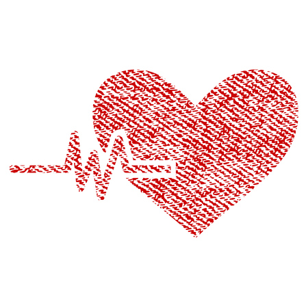 Heart Pulse vector textured icon for overlay watermark stamps. Red fabric vectorized texture. Symbol with unclean design. Red ink rubber seal stamp with fiber textile structure. Illustration
