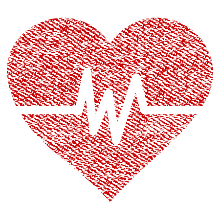 Heart Pulse vector textured icon for overlay watermark stamps. Red fabric vectorized texture. Symbol with dust design. Red ink rubber seal stamp with fiber textile structure. Illustration