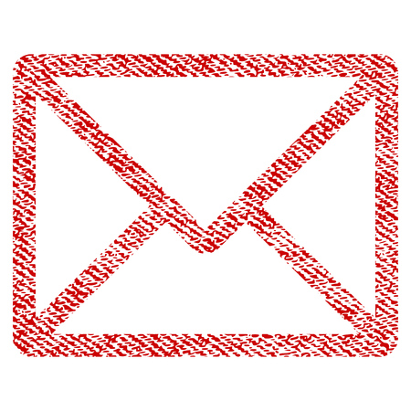Letter vector textured icon for overlay watermark stamps. Red fabric vectorized texture. Symbol with scratched design. Red ink rubber seal stamp with fiber textile structure. Illustration