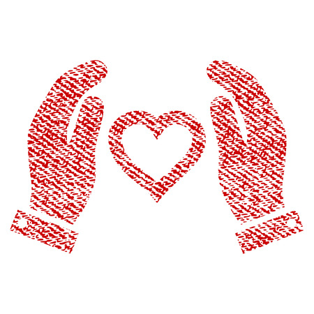 Love Care Hands vector textured icon for overlay watermark stamps. Red fabric vectorized texture. Symbol with dust design. Red ink rubber seal stamp with fiber textile structure. Illustration