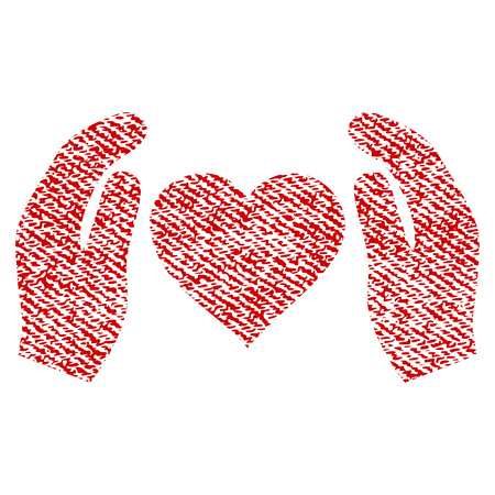Love Care Hands vector textured icon for overlay watermark stamps. Red fabric vectorized texture. Symbol with scratched design. Red ink rubber seal stamp with fiber textile structure. Çizim