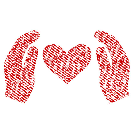 Love Care Hands vector textured icon for overlay watermark stamps. Red fabric vectorized texture. Symbol with dirty design. Red ink rubber seal stamp with fiber textile structure.