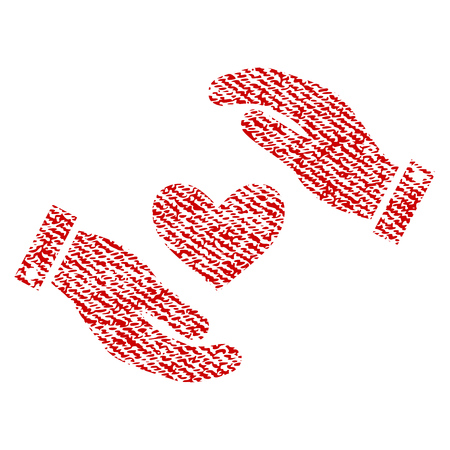Heart Care Hands vector textured icon for overlay watermark stamps. Red fabric vectorized texture. Symbol with unclean design. Red ink rubber seal stamp with fiber textile structure.