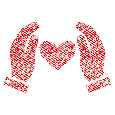 Hands vector textured icon for overlay watermark stamps. Red fabric vectorized texture. Symbol with dust design. Red ink rubber seal stamp with fiber textile structure. Illustration