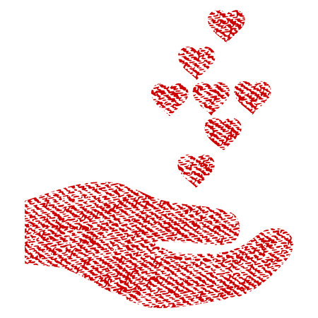 Love Small hearts Offer Hand vector textured icon for overlay watermark stamps. Red fabric vectorized texture. Symbol with scratched design. Red ink rubber seal stamp with fiber textile structure.