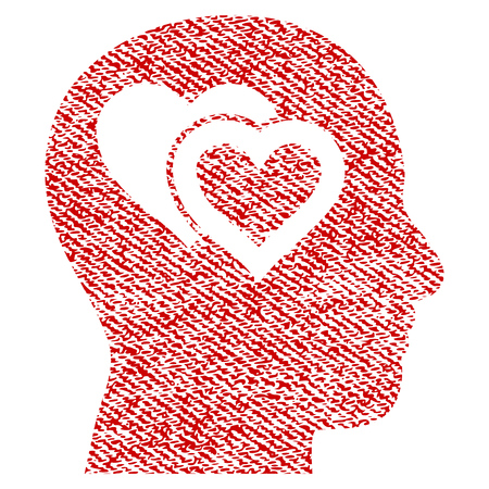 Love In Mind vector textured icon for overlay watermark stamps. Red fabric vectorized texture. Symbol with scratched design. Red ink rubber seal stamp with fiber textile structure.