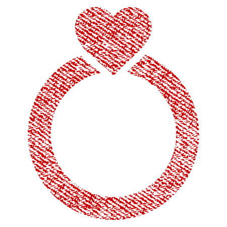 Love Ring vector textured icon for overlay watermark stamps. Red fabric vectorized texture. Symbol with unclean design. Red ink rubber seal stamp with fiber textile structure. Illustration