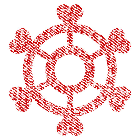 Lovely Boat Steering Wheel vector textured icon for overlay watermark stamps. Red fabric vectorized texture. Symbol with dirty design. Red ink rubber seal stamp with fiber textile structure.