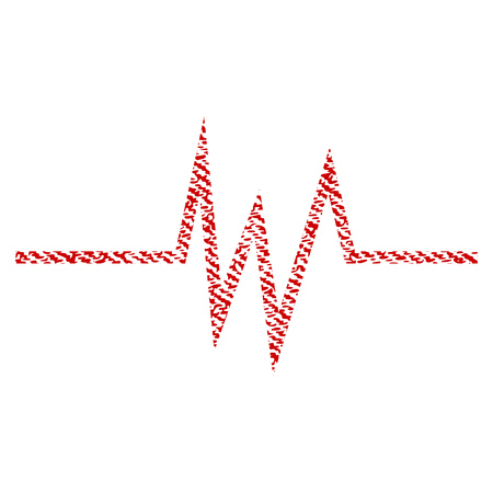Pulse Signal vector textured icon for overlay watermark stamps. Red fabric vectorized texture. Symbol with dirty design. Red ink rubber seal stamp with fiber textile structure. Illustration