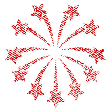Spherical Fireworks vector textured icon for overlay watermark stamps. Red fabric vectorized texture. Symbol with unclean design. Red ink rubber seal stamp with fiber textile structure.