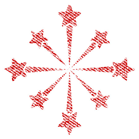 Star Burst Fireworks vector textured icon for overlay watermark stamps. Red fabric vectorized texture. Symbol with dust design. Red ink rubber seal stamp with fiber textile structure.
