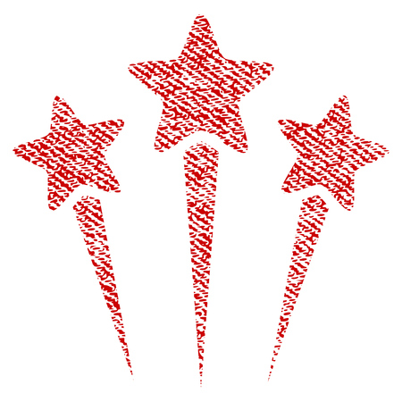Star Salute vector textured icon for overlay watermark stamps. Red fabric vectorized texture. Symbol with dirty design. Red ink rubber seal stamp with fiber textile structure.