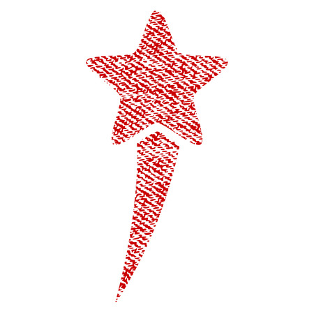 Starting Star vector textured icon for overlay watermark stamps. Red fabric vectorized texture. Symbol with dirty design. Red ink rubber seal stamp with fiber textile structure.