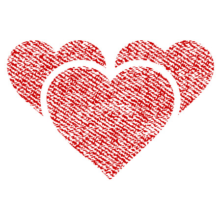 3 Valentine Hearts vector textured icon for overlay watermark stamps. Red fabric vectorized texture.