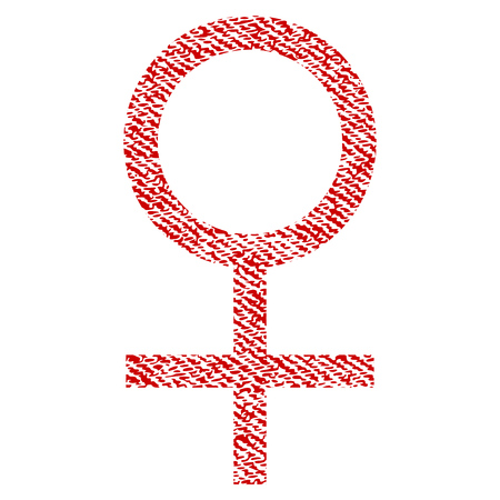 Venus Female Symbol vector textured icon for overlay watermark stamps. Red fabric vectorized texture.