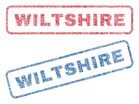 Wiltshire text textile seal stamp watermarks. Blue, red fabric vectorized texture. Vector tag inside rounded rectangular banner. Rubber sticker with fiber textile structure.