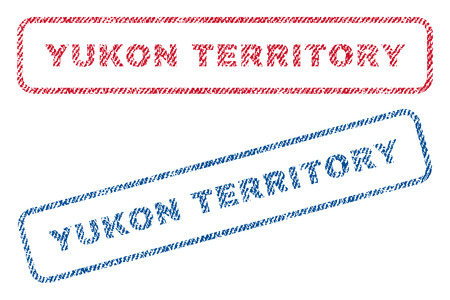 canada stamp: Yukon Territory text textile seal stamp watermarks. Blue, red fabric vectorized texture. Vector caption inside rounded rectangular shape. Rubber emblem with fiber textile structure. Illustration