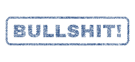 Bullshit! text textile seal stamp watermark. Blue jeans fabric rasterized texture. Raster tag inside rounded rectangular shape. Rubber sticker with fiber textile structure.
