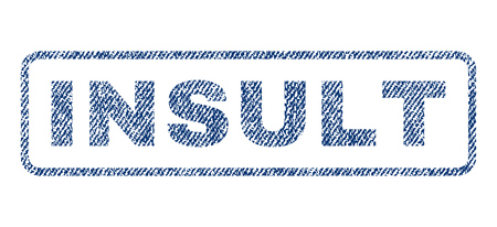disordered: Insult text textile seal stamp watermark. Blue jeans fabric rasterized texture. Raster caption inside rounded rectangular shape. Rubber sticker with fiber textile structure. Stock Photo