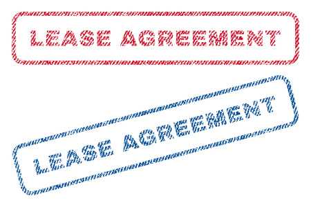 Lease Agreement text textile seal stamp watermarks. Blue, red fabric vectorized texture. Vector caption inside rounded rectangular banner. Rubber sign with fiber textile structure.