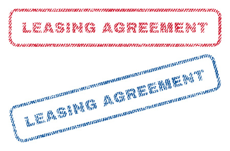 accordance: Leasing Agreement text textile seal stamp watermarks. Blue, red fabric vectorized texture. Vector caption inside rounded rectangular banner. Rubber sticker with fiber textile structure.