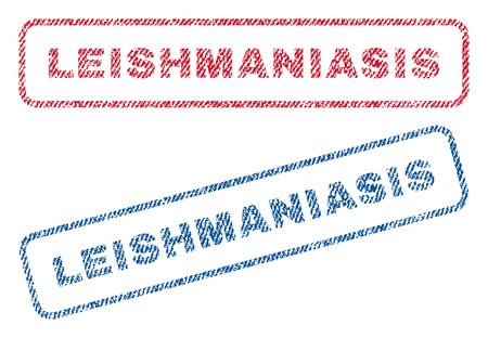 parasitic infestation: Leishmaniasis text textile seal stamp watermarks. Blue, red fabric vectorized texture. Vector caption inside rounded rectangular shape. Rubber sticker with fiber textile structure.