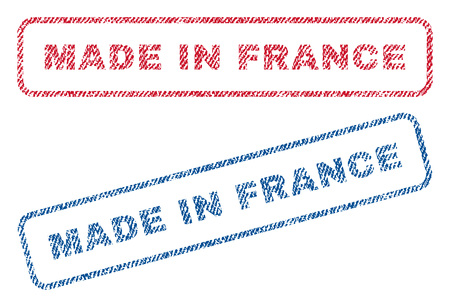 Made In France text textile seal stamp watermarks. Blue, red fabric vectorized texture. Vector tag inside rounded rectangular shape. Rubber sticker with fiber textile structure.