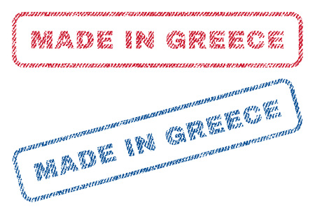Made In Greece text textile seal stamp watermarks. Blue, red fabric vectorized texture. Vector caption inside rounded rectangular banner. Rubber emblem with fiber textile structure. Illustration