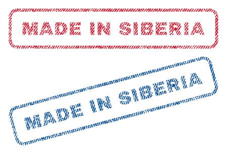 シベリアで作ったテキスト繊維シール スタンプ透かしです。青、赤の生地には、テクスチャがベクトル化。丸みを帯びた長方形バナー内のベクトルのキャプション。繊維の繊維構造を持つゴム ステッカー。 写真素材 - 73720378