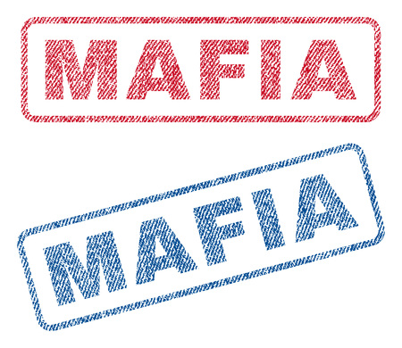 Mafia text textile seal stamp watermarks. Blue, red fabric vectorized texture. Vector tag inside rounded rectangular shape. Rubber sticker with fiber textile structure.