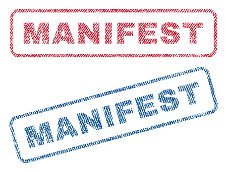Manifest text textile seal stamp watermarks. Blue, red fabric vectorized texture. Vector caption inside rounded rectangular shape. Rubber sign with fiber textile structure. Illustration
