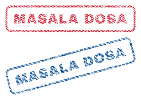 Masala Dosa text textile seal stamp watermarks. Blue, red fabric vectorized texture. Vector tag inside rounded rectangular shape. Rubber sign with fiber textile structure.