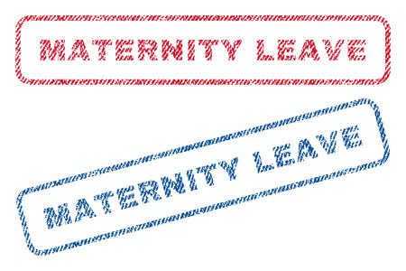 Maternity Leave text textile seal stamp watermarks. Blue, red fabric vectorized texture. Vector caption inside rounded rectangular banner. Rubber emblem with fiber textile structure. Stock Illustratie