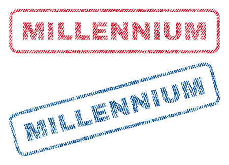 Millennium text textile seal stamp watermarks. Blue, red fabric vectorized texture. Vector tag inside rounded rectangular banner. Rubber emblem with fiber textile structure. Illustration