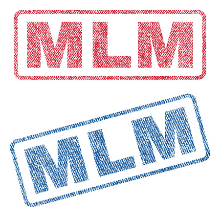 multi level: Mlm text textile seal stamp watermarks. Blue, red fabric vectorized texture. Vector tag inside rounded rectangular shape. Rubber emblem with fiber textile structure.