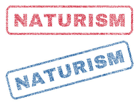 naturism: Naturism text textile seal stamp watermarks. Blue, red fabric vectorized texture. Vector caption inside rounded rectangular banner. Rubber emblem with fiber textile structure. Illustration