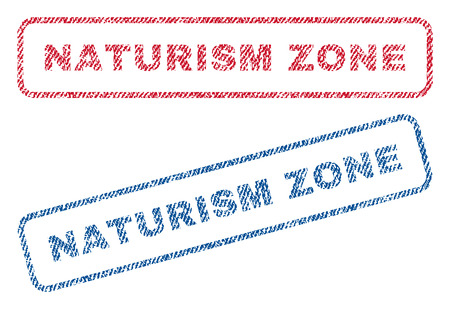 Naturism Zone text textile seal stamp watermarks. Blue, red fabric vectorized texture. Vector caption inside rounded rectangular shape. Rubber emblem with fiber textile structure.