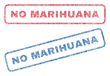No Marihuana text textile seal stamp watermarks. Blue, red fabric vectorized texture. Vector caption inside rounded rectangular shape. Rubber emblem with fiber textile structure.