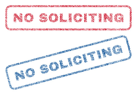 soliciting: No Soliciting text textile seal stamp watermarks. Blue, red fabric vectorized texture. Vector tag inside rounded rectangular shape. Rubber emblem with fiber textile structure.