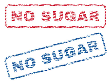 No Sugar text textile seal stamp watermarks. Blue, red fabric vectorized texture. Vector tag inside rounded rectangular shape. Rubber emblem with fiber textile structure.