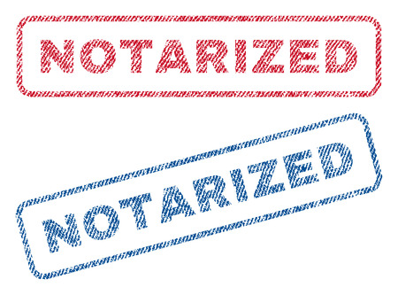 notarized: Notarized text textile seal stamp watermarks. Blue, red fabric vectorized texture. Vector caption inside rounded rectangular shape. Rubber sticker with fiber textile structure. Illustration