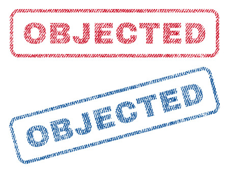 objected: Objected text textile seal stamp watermarks. Blue, red fabric vectorized texture. Vector caption inside rounded rectangular shape. Rubber sign with fiber textile structure. Illustration