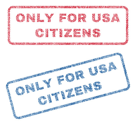 Only For USA Citizens text textile seal stamp watermarks. Blue, red fabric vectorized texture. Vector tag inside rounded rectangular shape. Rubber emblem with fiber textile structure. Çizim