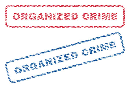 organized crime: Organized Crime text textile seal stamp watermarks. Blue, red fabric vectorized texture. Vector tag inside rounded rectangular shape. Rubber sign with fiber textile structure.