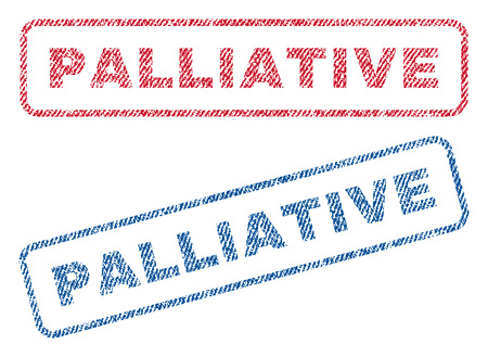 palliative: Palliative text textile seal stamp watermarks. Blue, red fabric vectorized texture. Vector tag inside rounded rectangular shape. Rubber sticker with fiber textile structure.