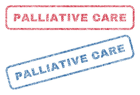 palliative: Palliative Care text textile seal stamp watermarks. Blue, red fabric vectorized texture. Vector caption inside rounded rectangular shape. Rubber sticker with fiber textile structure.