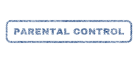 Parental Control text textile seal stamp watermark. Blue jeans fabric vectorized texture. Vector tag inside rounded rectangular banner. Rubber sticker with fiber textile structure.