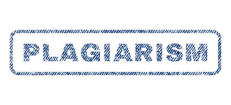 plagiarism: Plagiarism text textile seal stamp watermark. Blue jeans fabric vectorized texture. Vector tag inside rounded rectangular shape. Rubber sign with fiber textile structure.