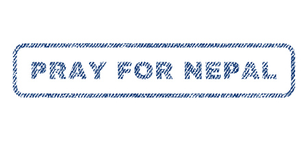 implore: Pray For Nepal text textile seal stamp watermark. Blue jeans fabric vectorized texture. Vector tag inside rounded rectangular shape. Rubber sign with fiber textile structure. Illustration