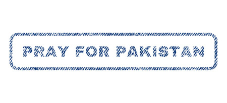 Pray For Pakistan text textile seal stamp watermark. Blue jeans fabric vectorized texture. Vector tag inside rounded rectangular shape. Rubber sticker with fiber textile structure.
